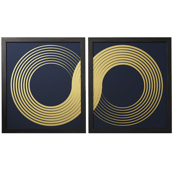 Infinity Diptych Indigo Framed Artwork