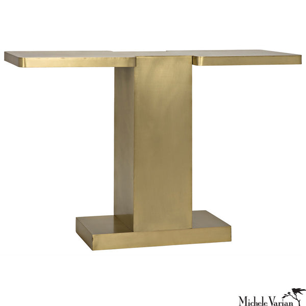 Brass Finish Metal T Console