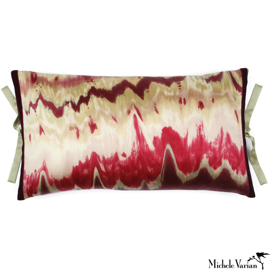 Silk Print Pillow Ikat Bordeaux 12x22