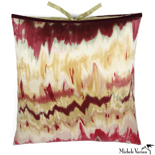 Silk Print Pillow Ikat Bordeaux 22x22