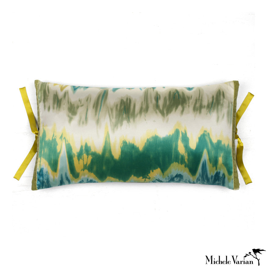 Silk Print Pillow Ikat Green 12x22