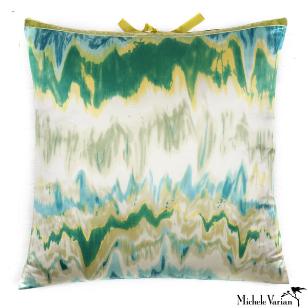 Silk Print Pillow Ikat Green 22x22