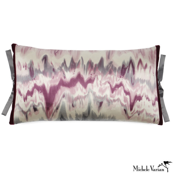 Silk Print Pillow Ikat Plum 12x22