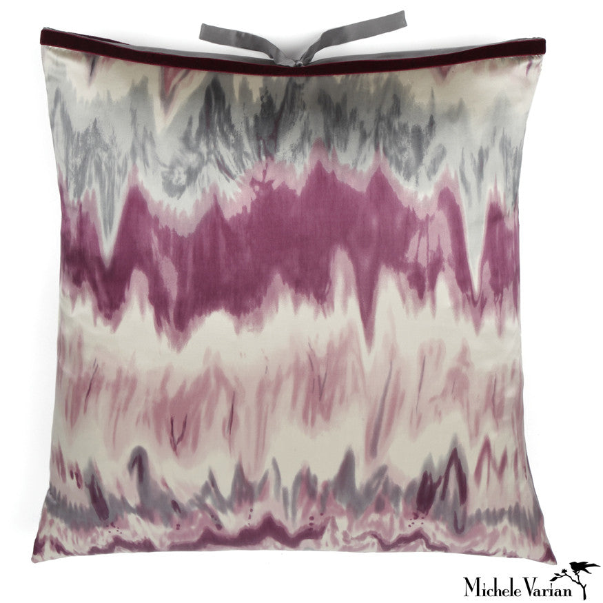 Silk Print Pillow Ikat Plum 22x22