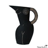 Arched Front Nude Black Earthenware Pitcher