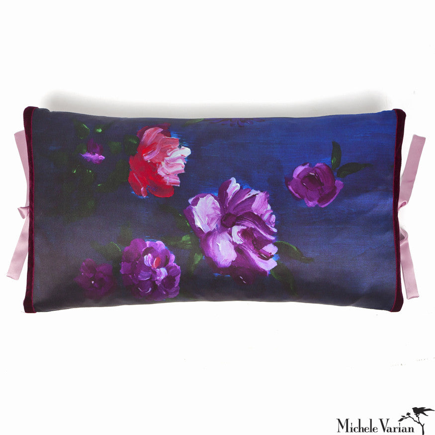 Silk Print Pillow Inky Floral 12x22