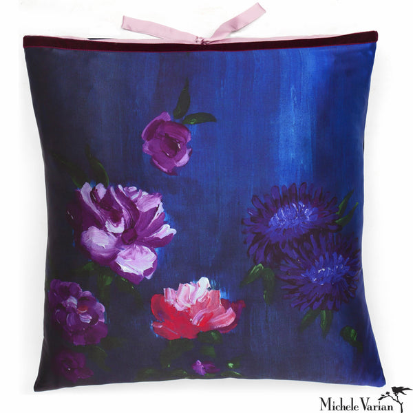 Silk Print Pillow Inky Floral 20x20
