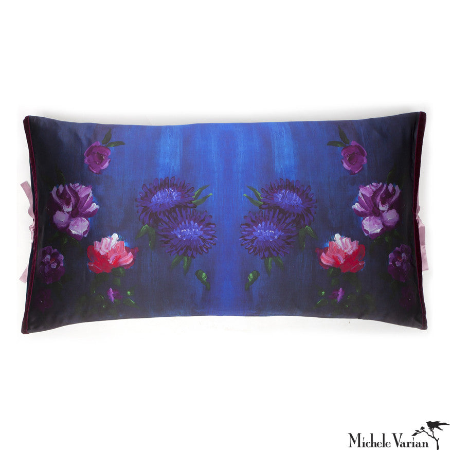 Silk Print Pillow Inky Floral 20x36