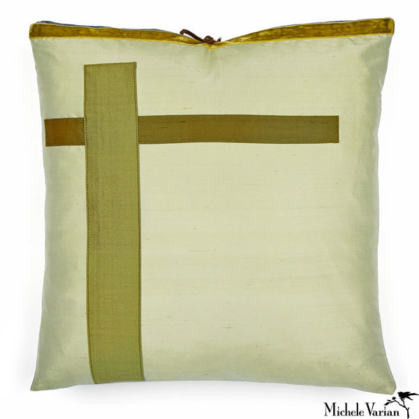 Silk Applique Pillow Intersection Mint 16x16