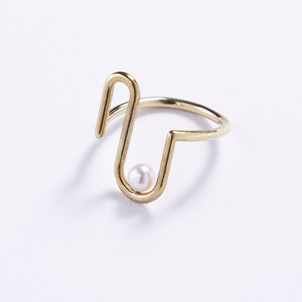 U Shaped Pearl Snugged Ring