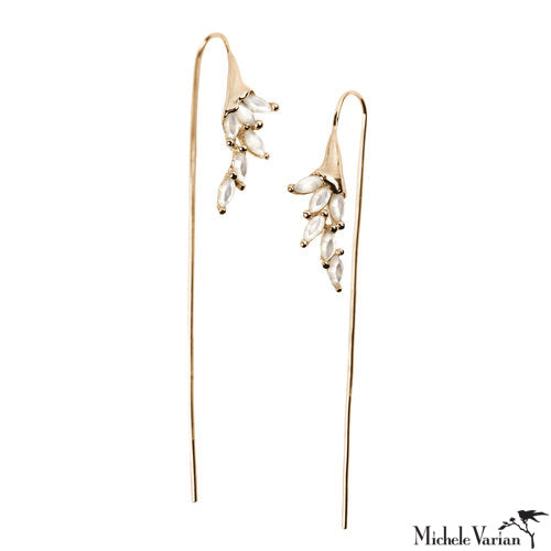 Long Floral Bliss Gold Earrings