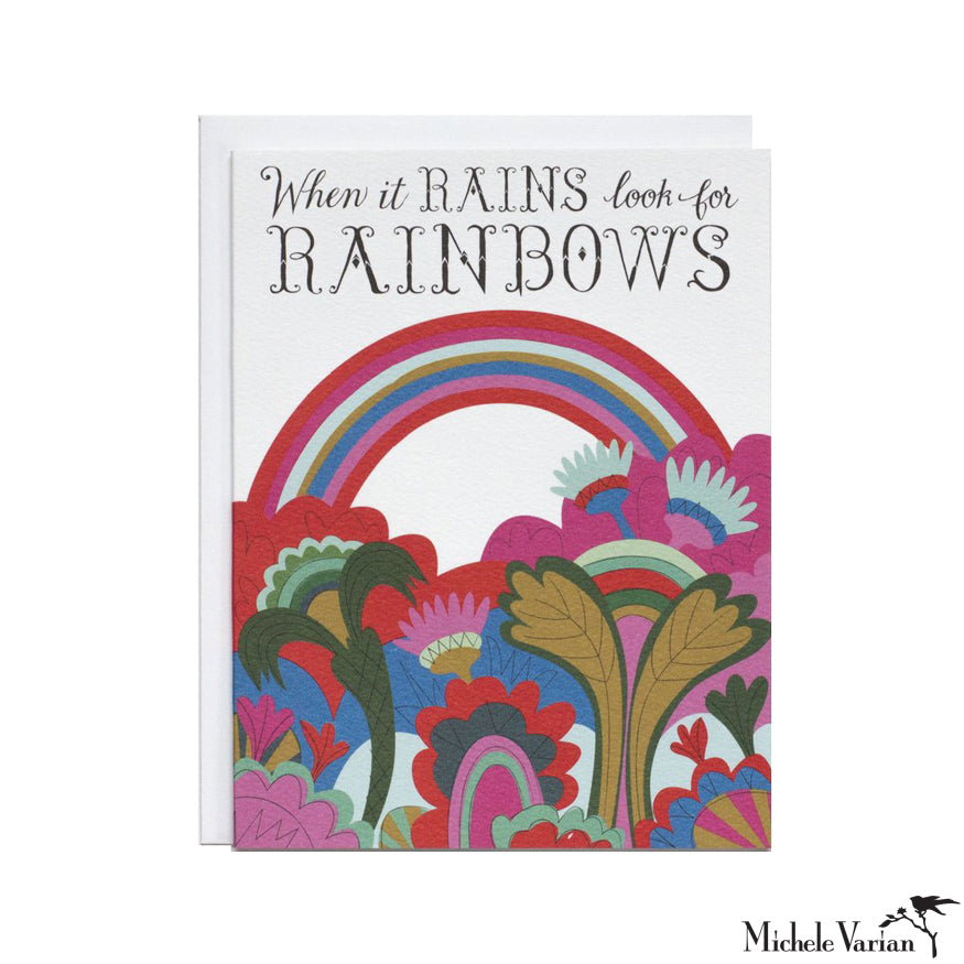 When It Rains Rainbow Card