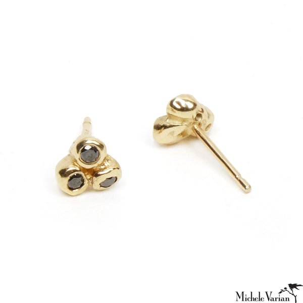 Black Diamond Trio Anemone Gold Stud Earrings