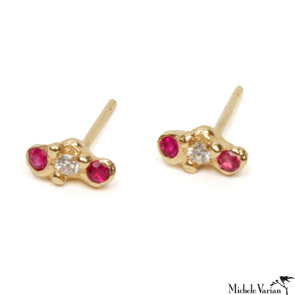 Diamond and Ruby Trio Cloud Gold Stud Earrings