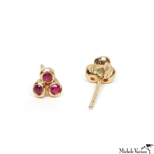 Ruby Trio Anemone Gold Stud Earrings