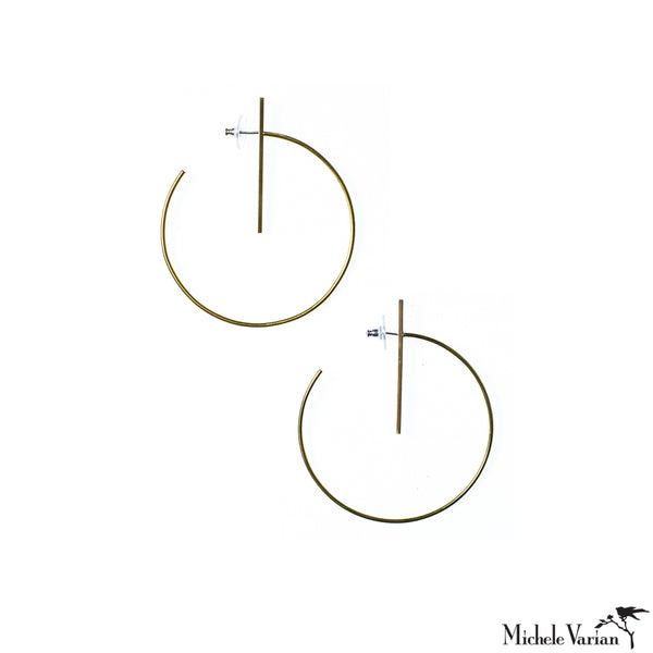 Large Lined Brass Hoop Earrings