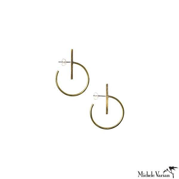 Lined Circle Brass Hoop Earrings