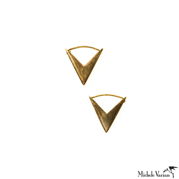 Gold Arrow Heads Hoops Earrings