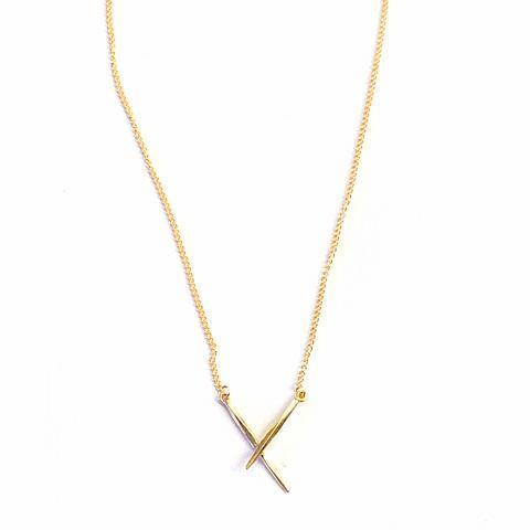 Crossed Twist Spike Necklace