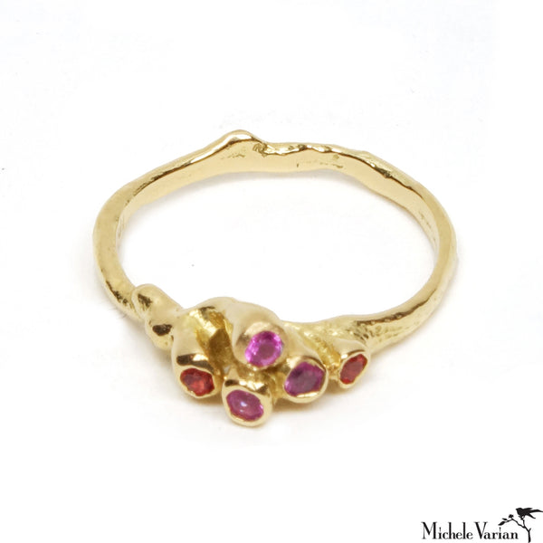 Pink Sapphire and Ruby Teeny Sea Anemone Cluster Gold Ring