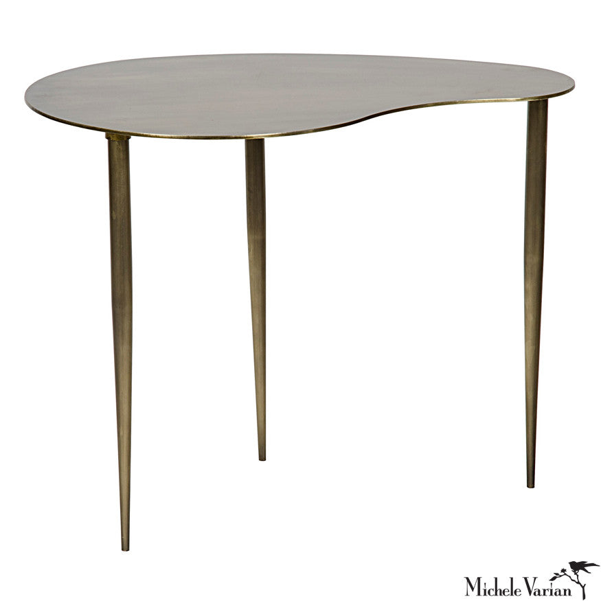 Brass Finish Kidney Side Table B