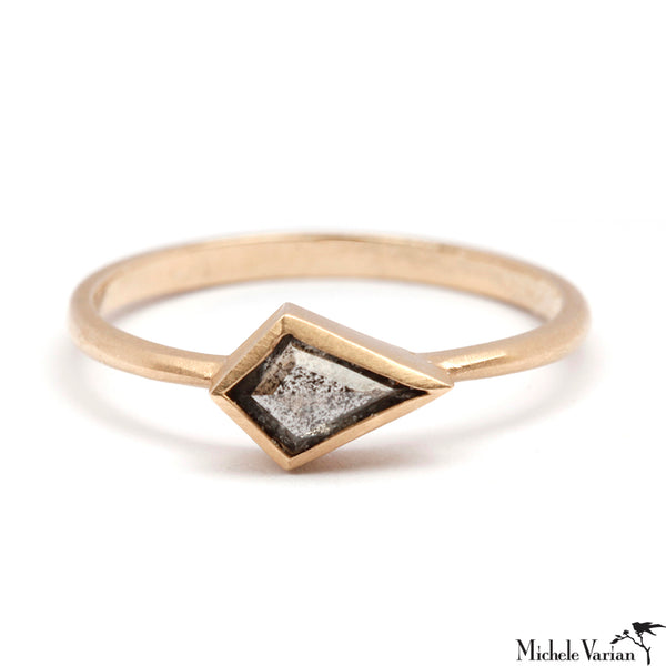 Grey Kite Shaped Diamond Dainty Gold Ring