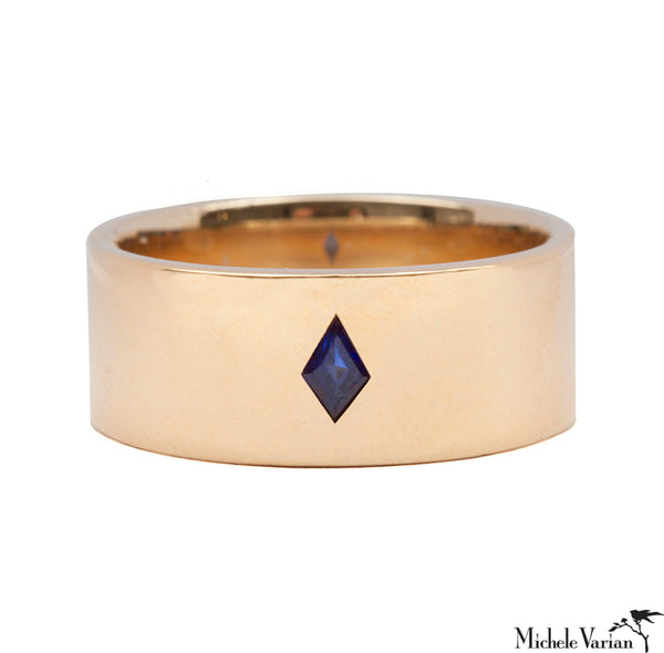 Thick Gold Cigar Band with Sapphire Ring