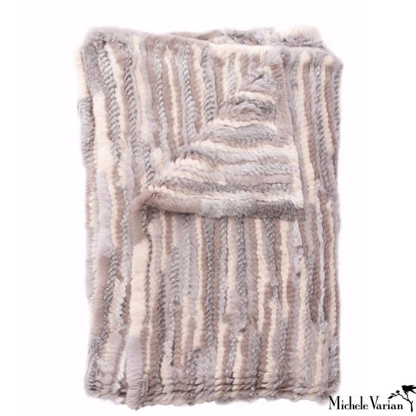 Neutral Pieced Fur Throw
