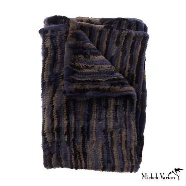 Navy and Olive Pieced Fur Throw