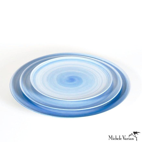 Hand Painted Wash Glaze Blue Porcelain Dinner, Salad & Dessert Plates sets of 4