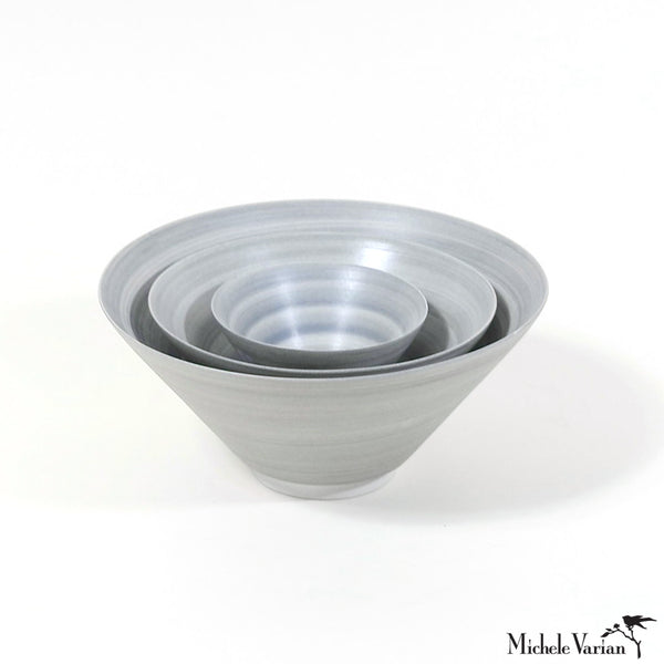 Hand Painted Wash Glaze Gray Porcelain Conical Bowls 3 size options