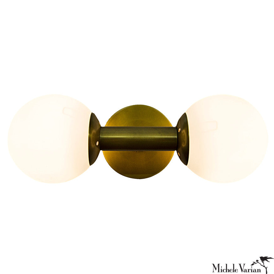 Dual Glass and Brass Sconce