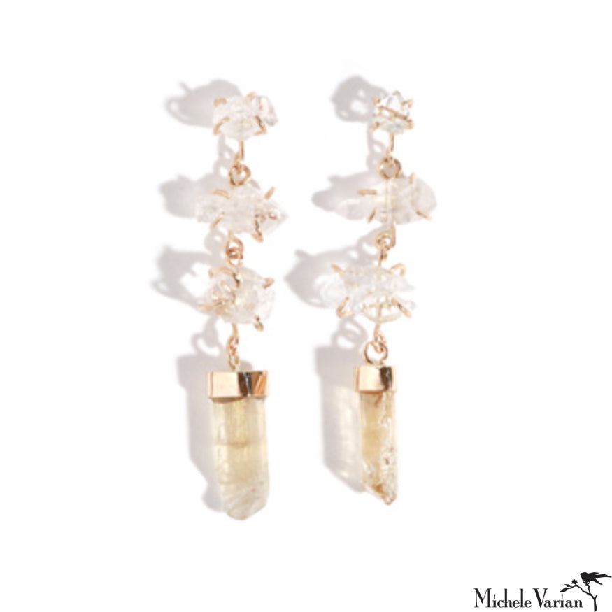 Limited Edition Gold Quartz and Imperial Topaz Drop Earrings
