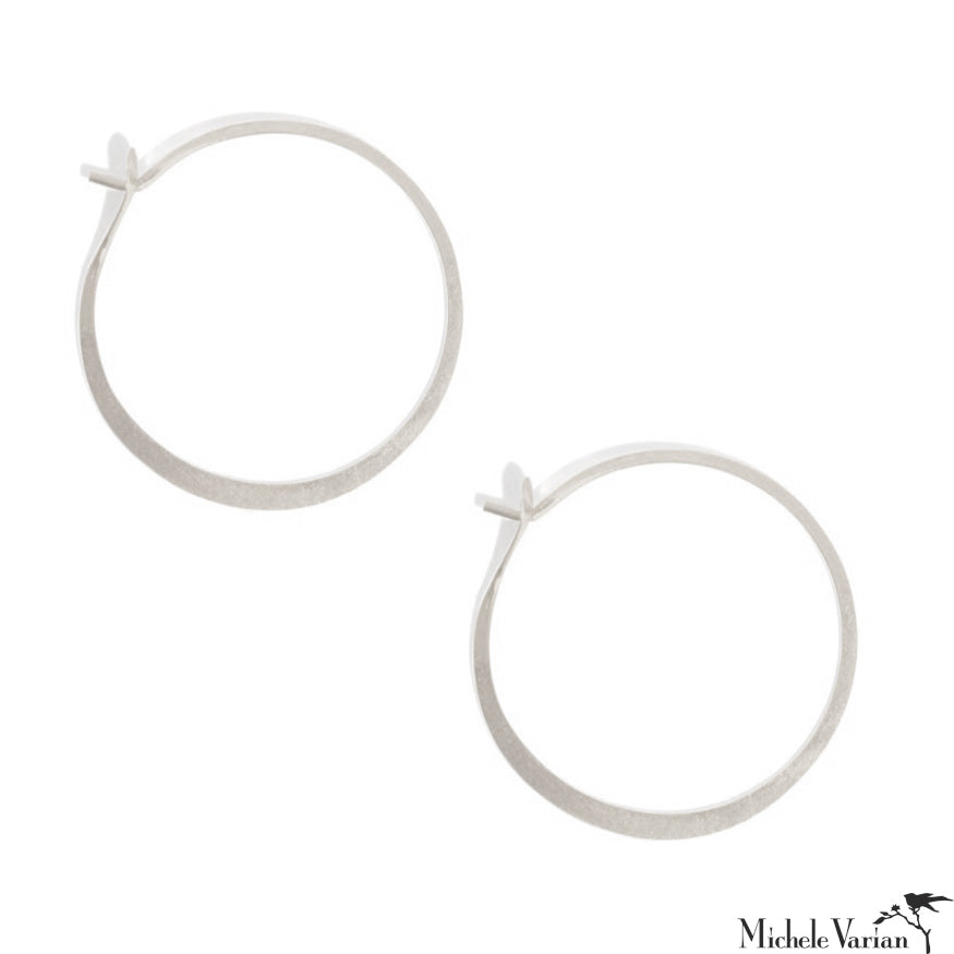 Large Round Forged Sterling Silver Hoops