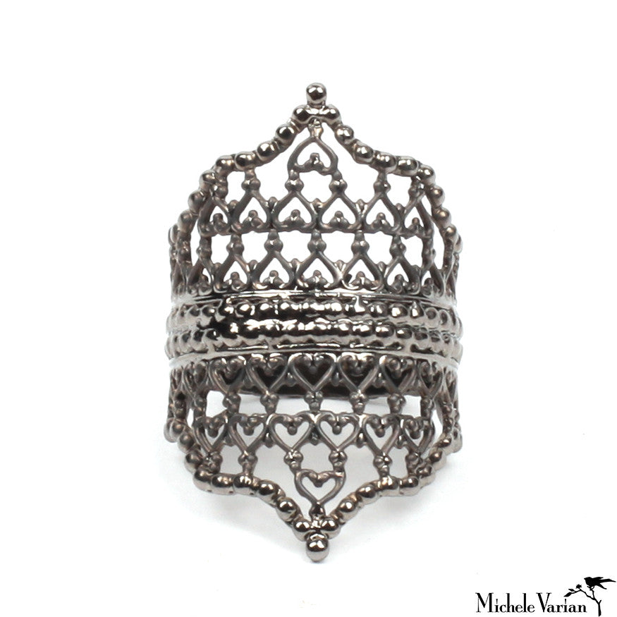 Oxidized Lace Ring