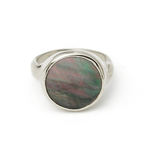Silver Lacuna Ring Grey Mother Of Pearl