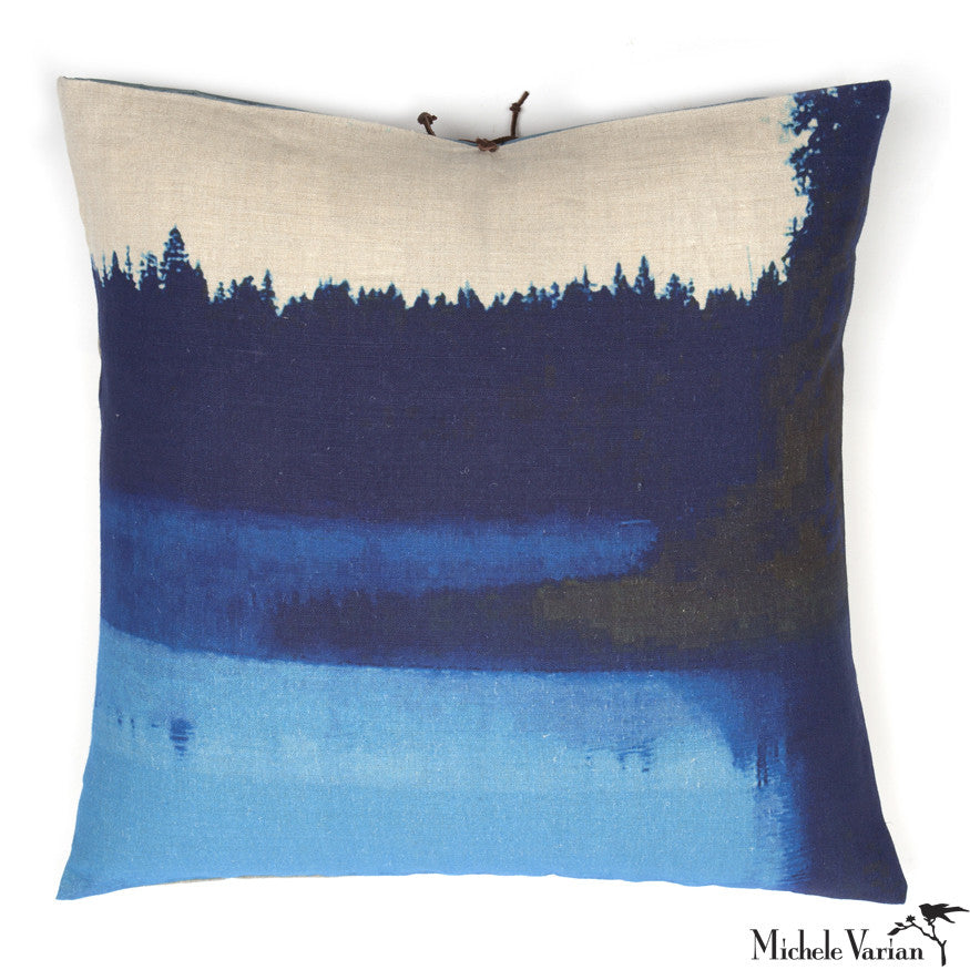 Printed Linen Pillow Lake Mist Blue 22x22