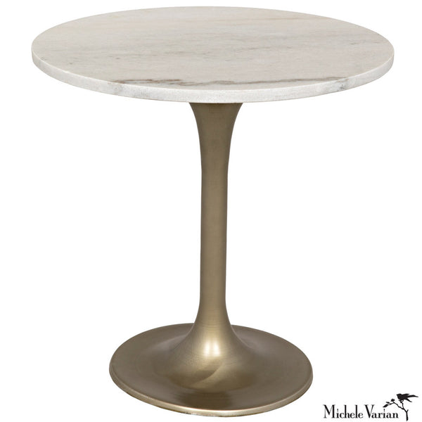 Round White Quartz Top Side Table with Brass Finish Stem Base