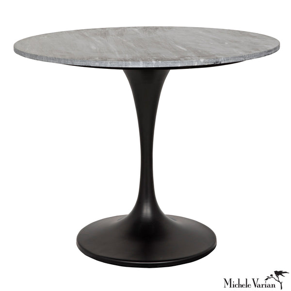 Roud Gray Quartz Top with Black Stem Base Dining Table