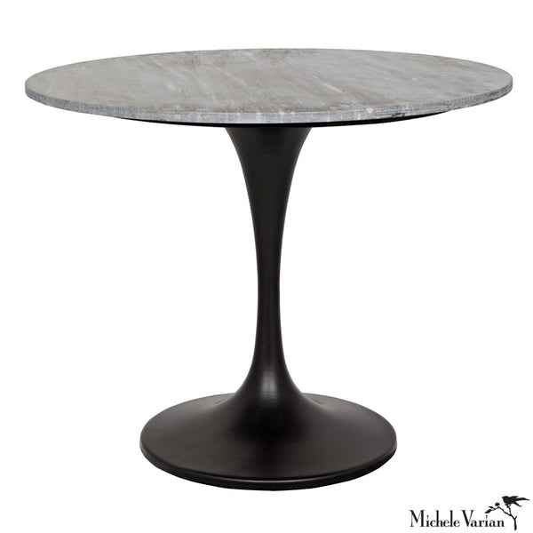 Round Gray Quartz Top with Black Base  Stem Bistro Table