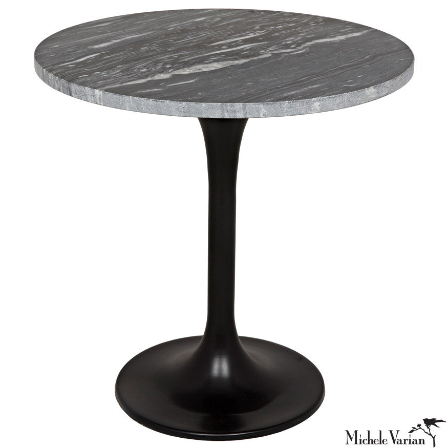 Round Gray Quartz Top Laredo Black Base Stem Side Table