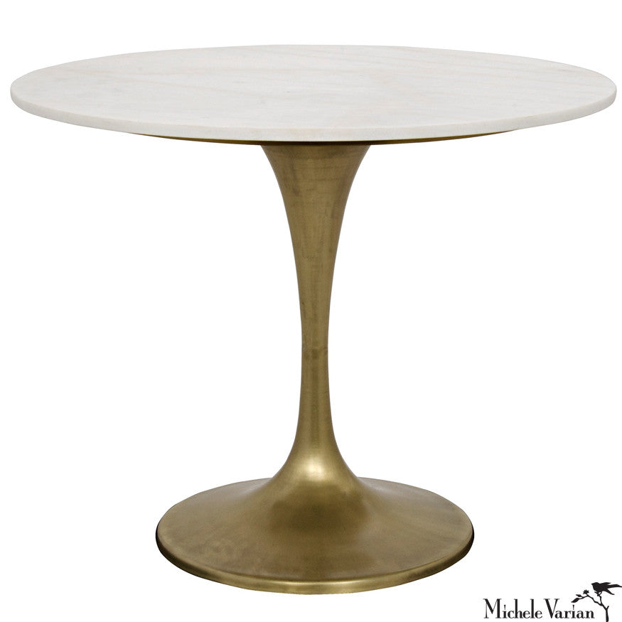 Charmant Round White Quartz Top Bistro Table With Brass Finish Stem Base