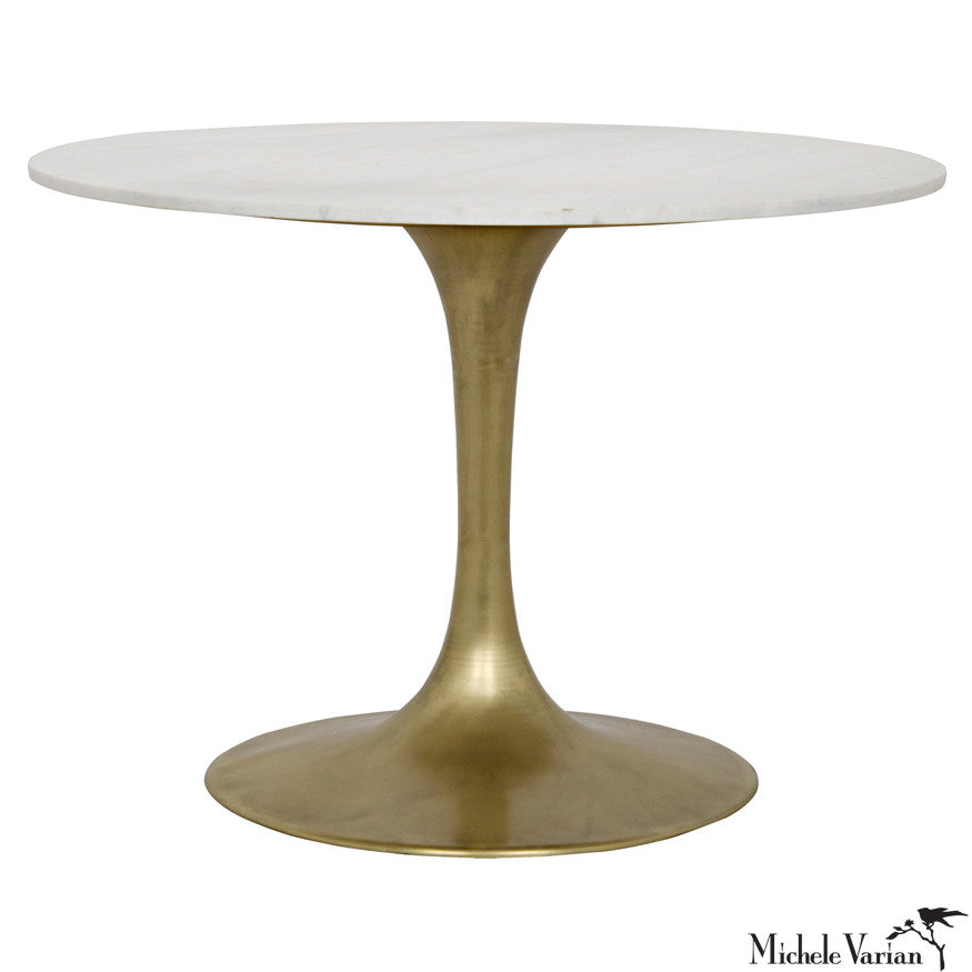 Round White Quartz Top Dining Table with Brass Finish Stem Base
