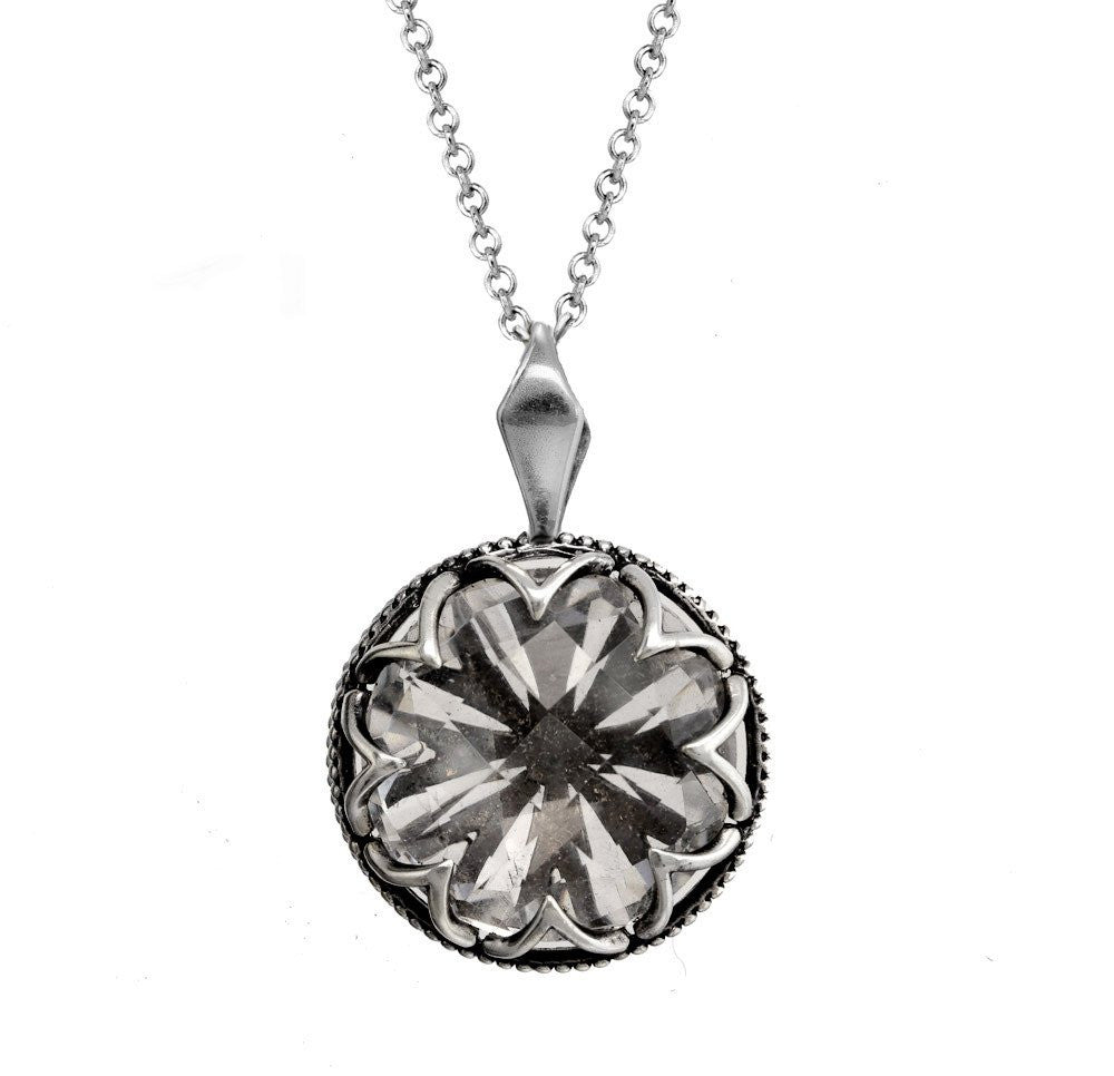 Large Silver Black Ice Necklace