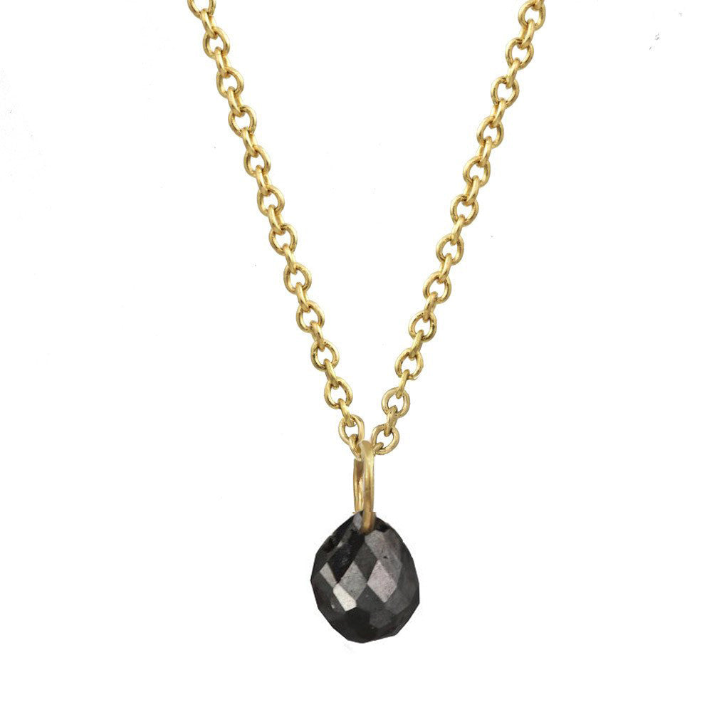 Constellation Drop Black Diamond Gold Necklace