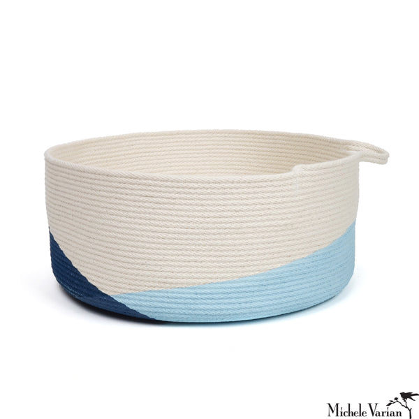 Stitched Cotton Rope Wide Basket Blue