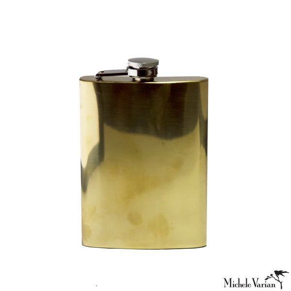 Large Reflective Brass Flask