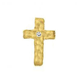 SINGLE Hammered Large Cross Stud With Diamond