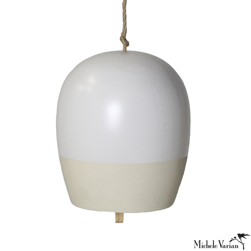 Large Matte White Ceramic Bell