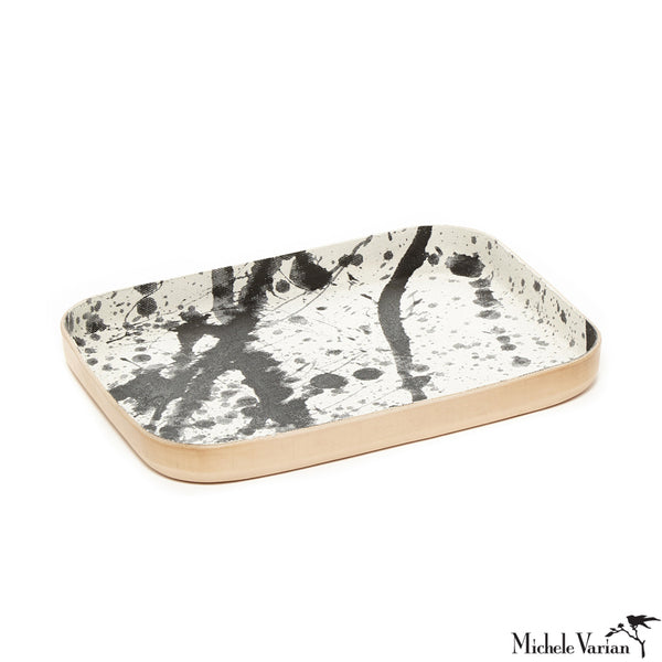Large Black and White Splattered Denim  & Leather Desk Tray